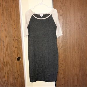 LuLaRoe | Julia Dress | Heathered Gray and Cream